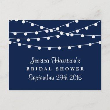 Modern String Lights On Navy Blue  Invitation Post