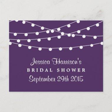 Modern String Lights On Purple  Invitation Post