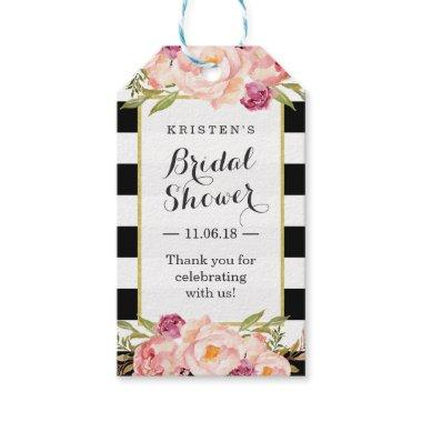 Modern Stripes Floral Decor Bridal Shower Favor Gift Tags