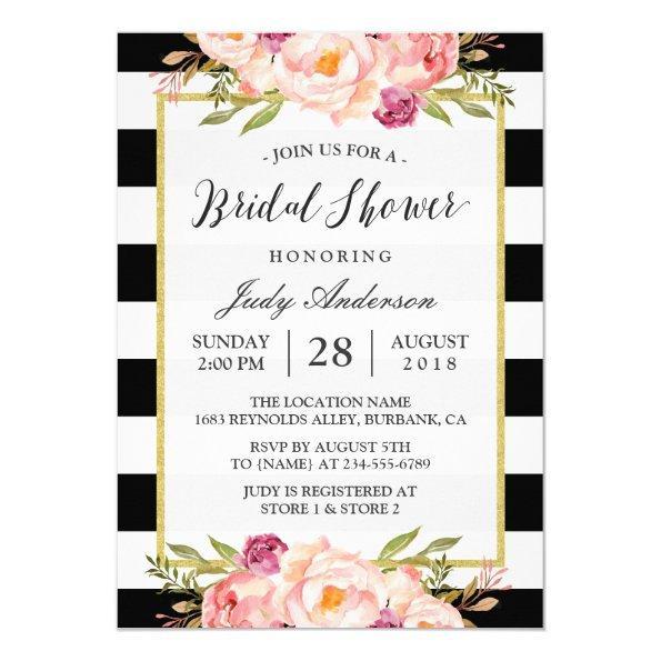 Modern Stripes Floral Decor Wedding Bridal Shower Invitations