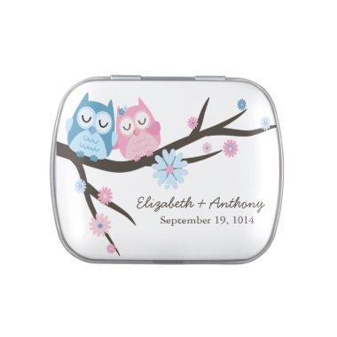 Modern Sweet Love Owls Wedding Favor Candy Jelly Belly Candy Tin