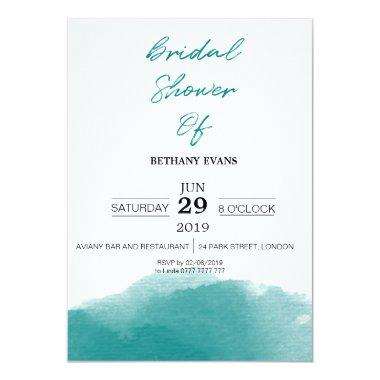 Modern Teal Blue Watercolor Bridal Shower Invite