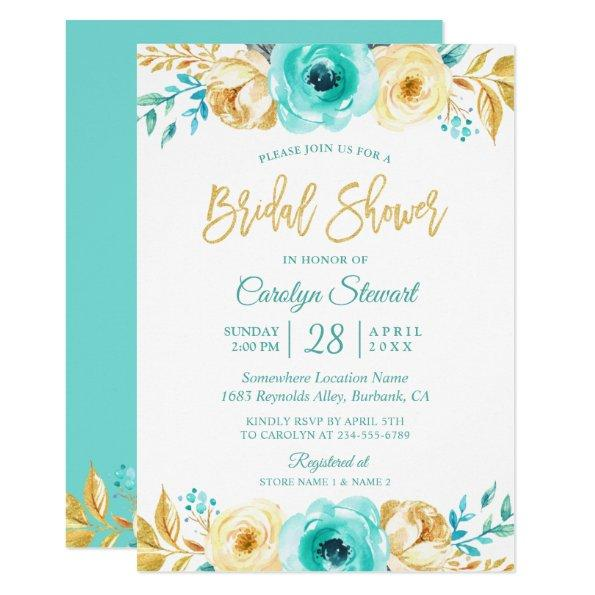 Modern Tiffany Gold Botanical Floral Bridal Shower Invitations