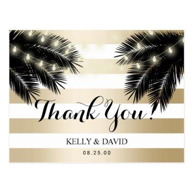 Modern Tropical Palm Tree Beach Wedding Thank You Post