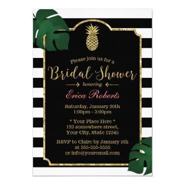 Modern Tropical Pineapple Hawaiian Bridal Shower Invitations