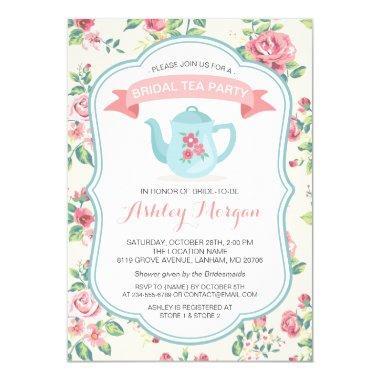 Modern Vintage Floral Bridal Shower Tea Party Invitations