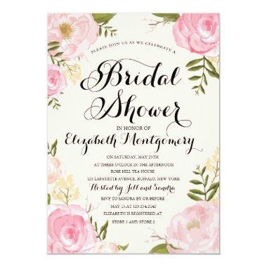 Modern Vintage Pink Floral Bridal Shower Invitations