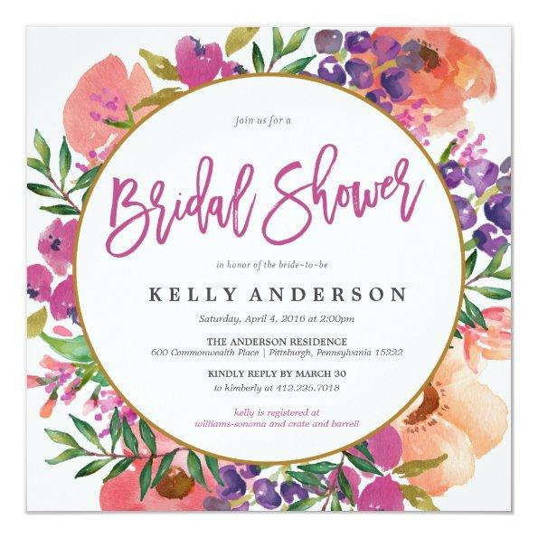 MODERN WATERCOLOR FLORAL bridal shower Invitations