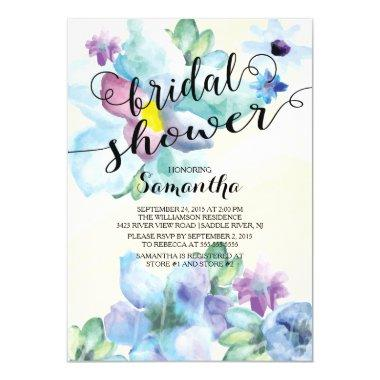 Modern Watercolor Flowers Bridal Shower Invitations