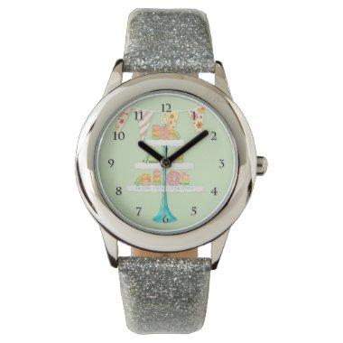 Modern watercolor French Macarons Patisserie Stand Watch