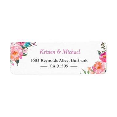 Modern Watercolor Fuchsia Pink Garden Floral Label