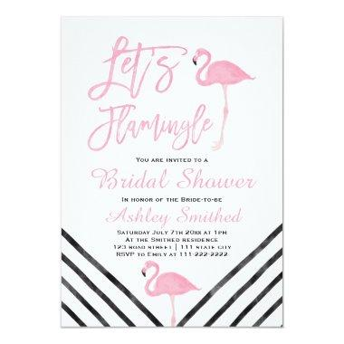 Modern watercolor pink flamingo bridal shower Invitations