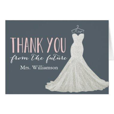 Modern Wedding Dress | Bridal Shower Thank You Invitations