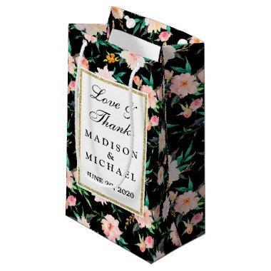 Modern Wedding Vintage Floral Roses Small Gift Bag