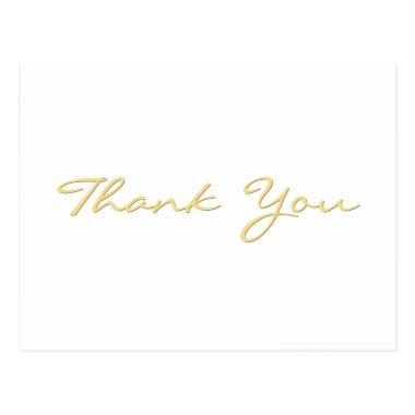 Modern White Elegant Faux Gold Script Thank You PostInvitations