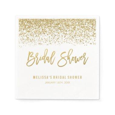 Modern White Faux Gold Glitter Bridal Shower Napkin