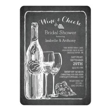 Modern Wine & Cheese Bridal Shower Invitations