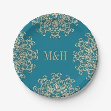 Monogram Aquamarine and Gold Indian Style Wedding Paper Plate