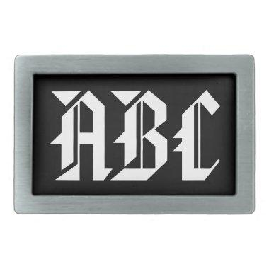 Monogram belt buckle with custom name initials