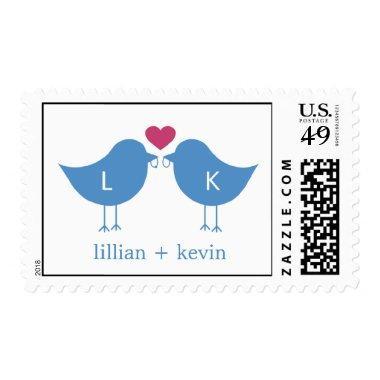 Monogram Birds Postage Stamp - Blue/Pink