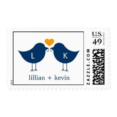 Monogram Birds Postage Stamp - Navy/Orange