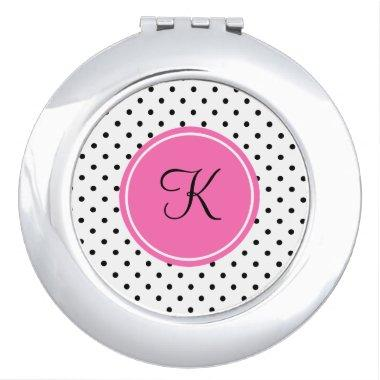 Monogram Black and White Polka Dot with Hot Pink Compact Mirror