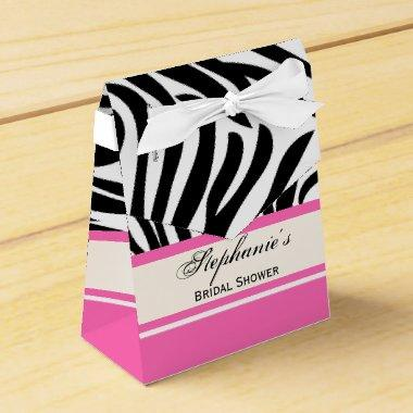 Monogram Black and White Zebra Print and Hot Pink Favor Box