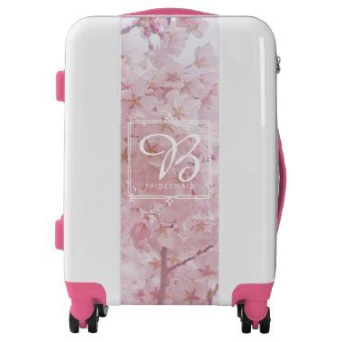 Monogram Bridesmaid Pale Pink Cherry Blossoms Luggage