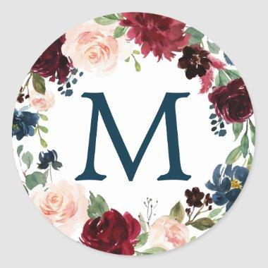 Monogram Favor Stickers Navy Burgundy