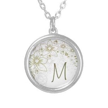 Monogram Gift Necklace for Green and Gold Simple
