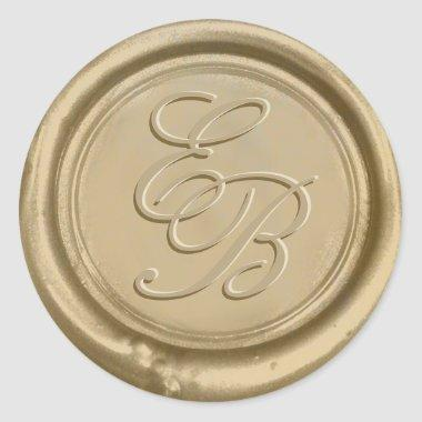 Monogram Gold Wax Envelope Seal Wedding