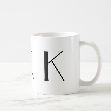 Monogram Initial K Black & White Modern Coffee Mug