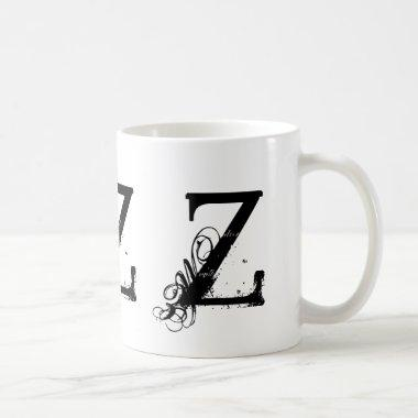 Monogram Initial Z Black & White Grunge Coffee Mug