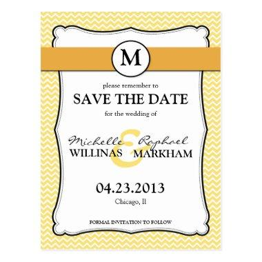 Monogram Lemon Yellow Chevron  Post