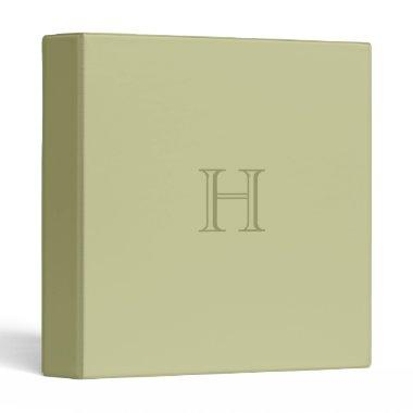 Monogram,Olive Green Binder