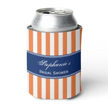 Monogram Orange and White Stripes with Royal Blue Can Cooler