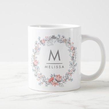 Monogram Pink Floral Elegant Gray Country Mug