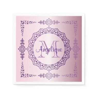 Monogram Purple Frame Fancy Lace Girly Jewel Lilac Napkin