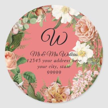 Monogram Return Address Coral Ivory Peony Floral Classic Round Sticker