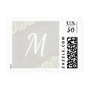 Monogram Rustic Laced Gray Linen Wedding Postage