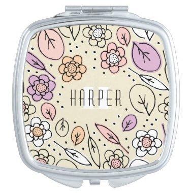 Monogram Sketchy Floral Leaves 2 Square Mirror For Makeup