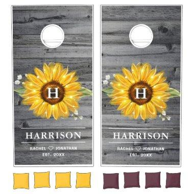 Monogram Sunflower Wood Boards Rustic Wedding Cornhole Set