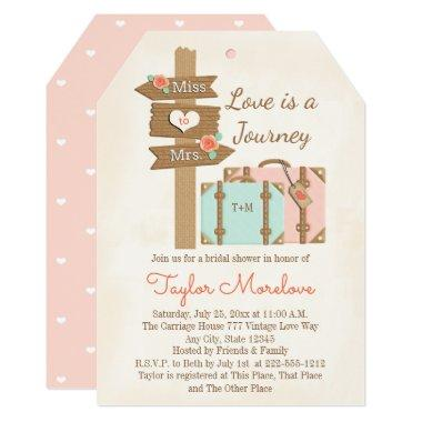 Monogram Traveling from Miss to Mrs Bridal Shower Invitations