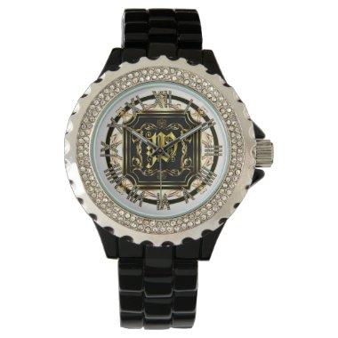 Monogram W Customize Edit Change Background Color Wrist Watch