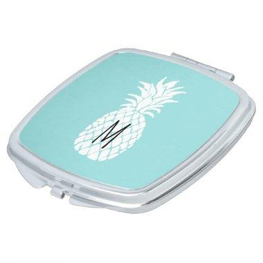 monogram white pineapple on any background color compact mirror