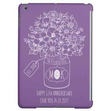 Monogram Wildflowers Bouquet Hand-Drawn Mason Jar iPad Air Cover