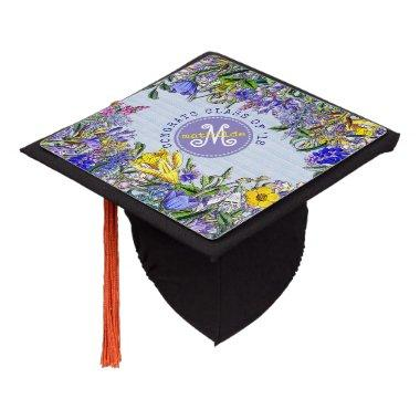 Monogram Wildflowers Vintage Purple Yellow Flowers Graduation Cap Topper