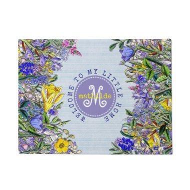 Monogram Wildflowers Vintage Victorian Flowers Doormat