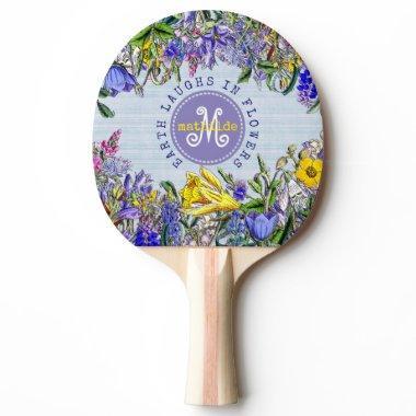 Monogram Wildflowers Vintage Victorian Flowers Ping-Pong Paddle