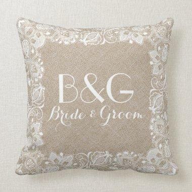 Monogramed Beige Linen And White Lace Frame Throw Pillow